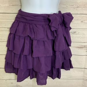 Rachael & Chloe Solid Purple Ruffled Tier Skirt